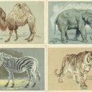 FOUR VINTAGE RUSSIAN MONOCOLOUR ZOO ANIMAL POSTCARDS 1956