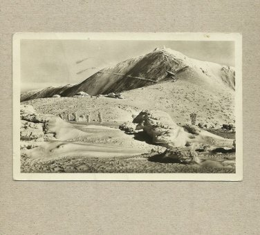 KRKONOSE MOUNTAIN RANGE CZECHOSLOVAKIA VINTAGE POSTCARD 1954