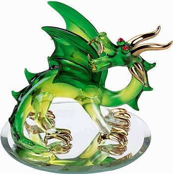 NEW Beautiful Green Glass Dragon w/Gold & Mirror Base