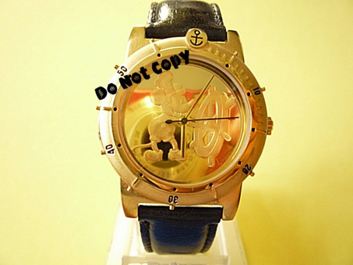NEW Men Disney Mickey Mouse Steam Boat Willie Gold Watch HTF