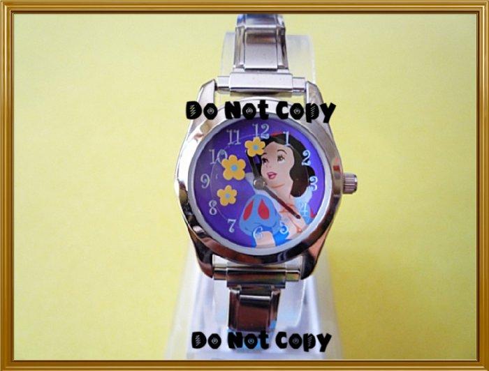 NEW Disney Italian Charm Silver Snow White Flower Watch