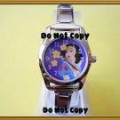 NEW Disney Italian Charm Silver Snow White Flower Watch