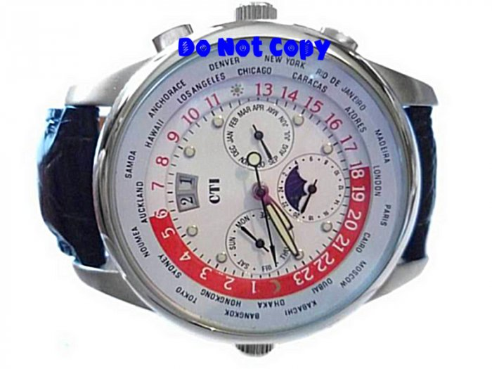 NEW Mens CTI 21J Swiss Moonphase World Timer Automatic Watch