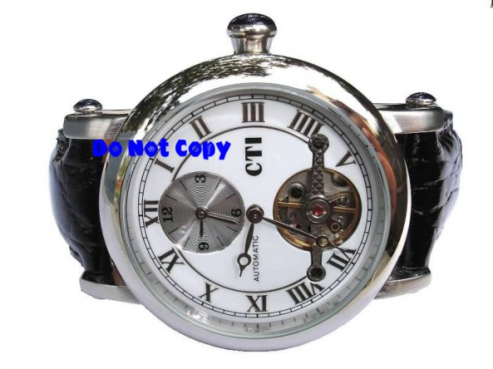 NEW Mens CTI 27Jewels Dual Time AUTOMATIC Tourbillon Swiss Watch