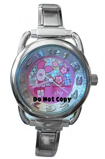 NEW Disney Piglet In Pink Shy Italian Charm Watch HTF