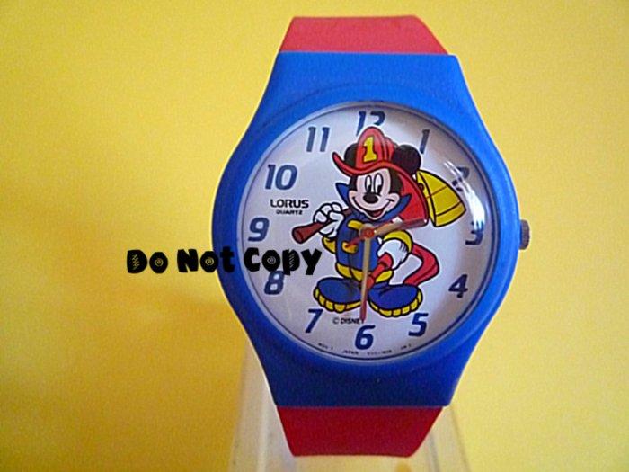 NEW Vintage Disney/Lorus Mickey Mouse Fireman Firefighter Watch
