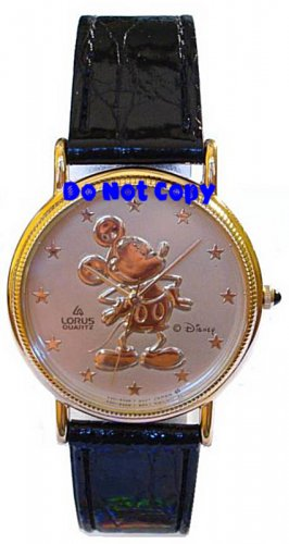 NEW Disney/Lorus Mickey Mouse Gold Embossed Watch HTF