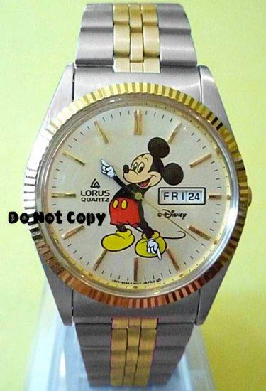 NEW Disney/Lorus Mens Mickey Mouse w/Date Day Watch HTF