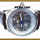 NEW Mens CTI 21J Swiss Skeleton Automatic Leather Watch