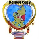 NEW Disney Winnie The Pooh Heart Shaped Italian Charm Watch