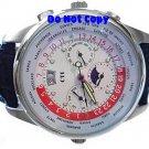 NEW Mens CTI 21J Swiss Moonphase World Timer AUTO Watch