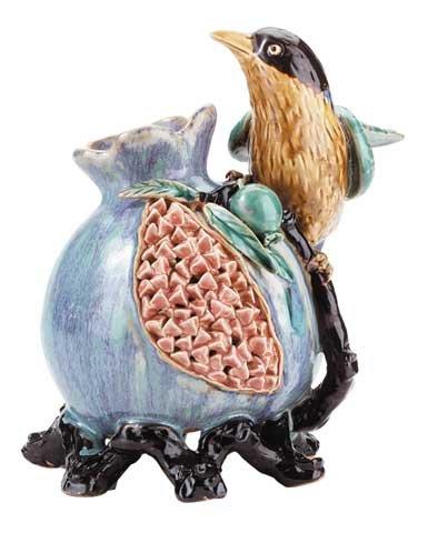 BRAND NEW Beautiful Majolica Bird On Fruit Vase
