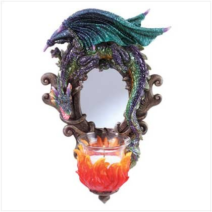 NEW Dragon Fiery Wall Mirror And Candleholder