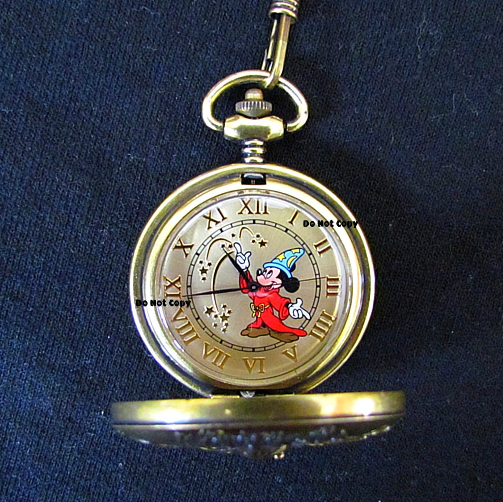 NEW Disney Fossil Mickey Mouse Sorcerer Pocket Watch