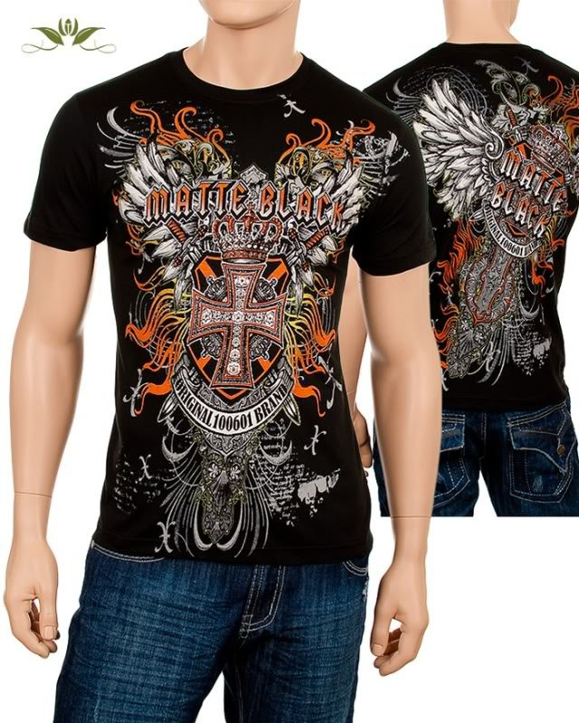 BRAND NEW Men's Black Art Tattoo Cross Wings Tshirt