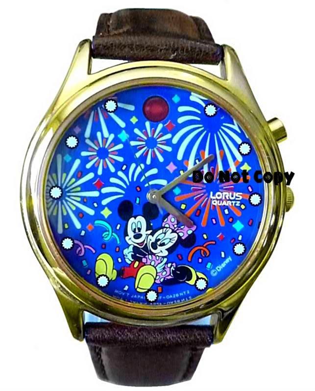 Disney Lorus Mickey Minnie Mouse Musical Firework Watch
