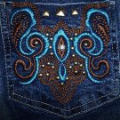 NWOT Ladies Brazilian Embellished Studs Jeans Size 42 or 7/8