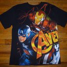 NEW Marvel Avengers Iron Man Captain America,The Hulk Boys Black Tshirt