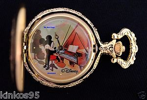 NEW Disney Mickey Mouse  Limited Edition Playing Grand Piano Pocket Watch HTF