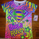 NEW Girls Colorful Superman Comics T shirt Size 6/6X Small