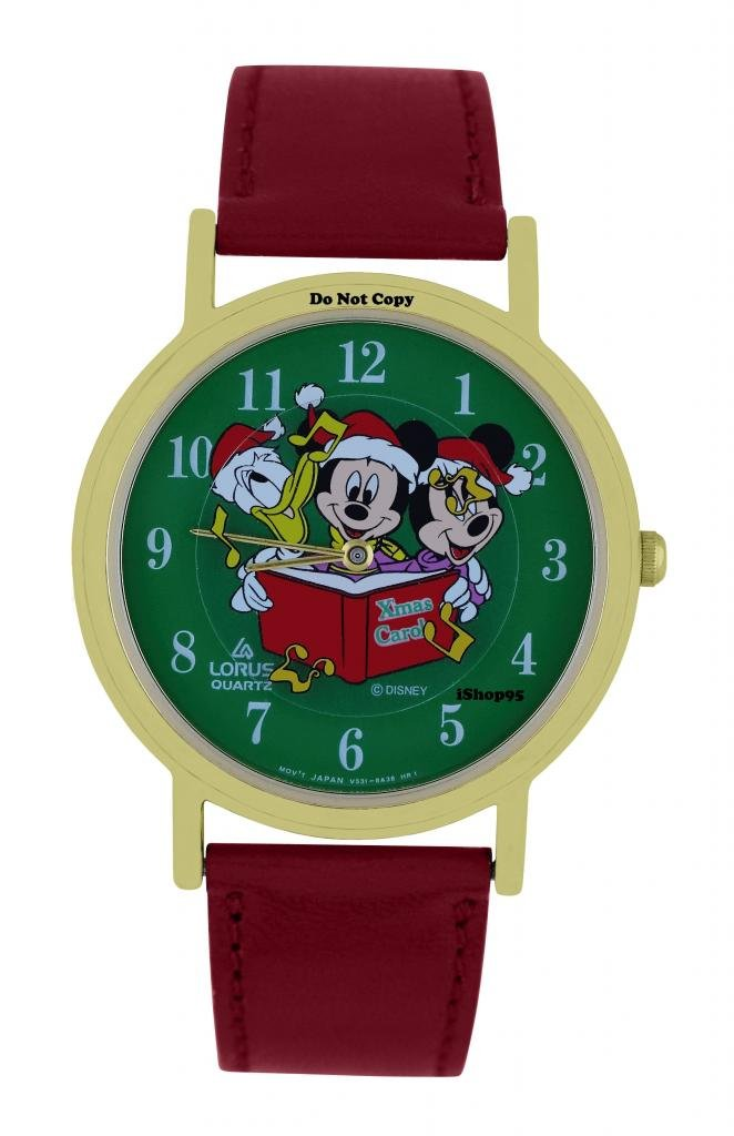 NEW Disney Lorus Mickey Minnie Mouse Donald Duck Christmas Musical Notes Watch