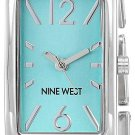 NEW Nine West Women's Silver-Tone and Teal Link Bracelet Watch