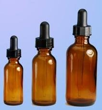 (144 ct) 1 oz (30 ml) Amber Boston Round Glass Bottles with Droppers (Empty)