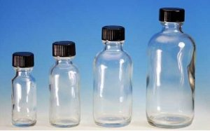 (72 ct) 1 oz (30 ml) Clear Boston Round Glass Bottles with Caps (Empty)