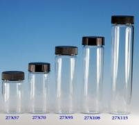(72 ct.) 23 mm x 50 mm Clear Glass Wide Neck Screw Thread Vials w/ Caps - Wholesale Glass Vials