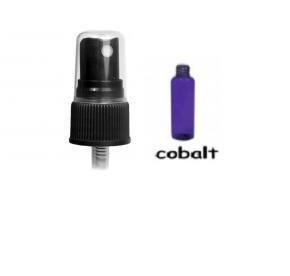 Wholesale Blue Spray Bottles (72 ct) 2 oz. Cobalt Blue Plastic Bottles with Black Sprayers