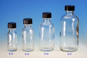 (12 ct) 4 oz (120 ml) Clear Boston Round Glass Bottles with Caps (Empty)
