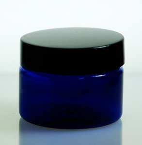 Wholesale Jars (24 ct) 4 oz Cobalt Blue PET Plastic Jar with Black Lid