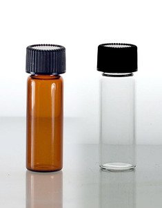 (144 ct) 1 Dram Amber Glass Vials w/ P/P Caps and Orifice Reducers - Wholesale Glass Vials