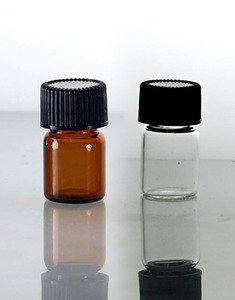 (72 ct) 5/8 Dram Amber Glass Vials w/ P/P Caps and Orifice Reducers - Wholesale Glass Vials