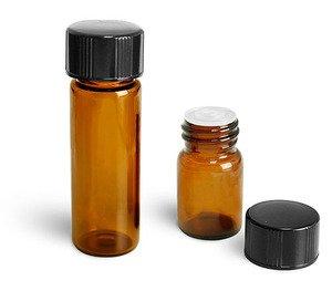 (72 ct) 1/4 Dram Amber Glass Vials w/ P/P Caps and Orifice Reducers - Wholesale Glass Vials
