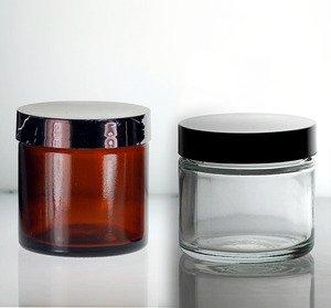 (3 ct) 4 oz CLEAR Glass Jars with Black Lids (Empty) - Wholesale Glass Jars