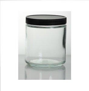 3 ct 8 oz clear glass jars with black lids empty wholesale glass jars. Black Bedroom Furniture Sets. Home Design Ideas