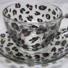 Leopard Print Glass Coffee Cup Set
