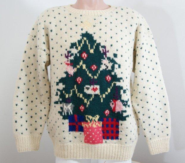 Vintage 1989 EDDIE BAUER Holiday Xmas Tree SWEATER Mens L Large
