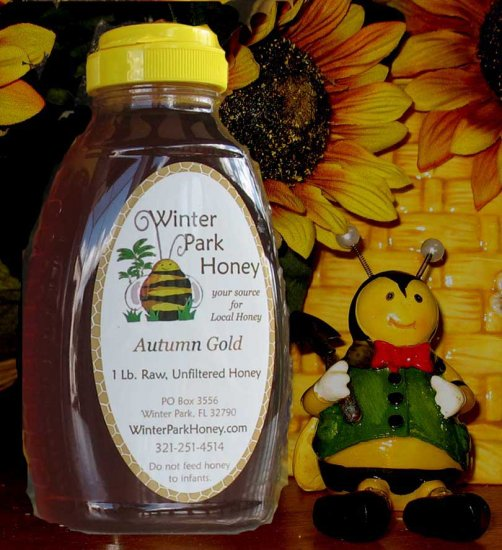 1 Lb Autumn Gold Honey (raw, unfiltered and unstrained)
