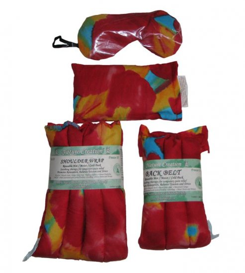 Red set with tie dye pattern