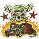 Small Skull N Rods Sticker (S-458)