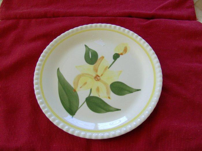 Blue Ridge Luncheon Plate Yellow Flower Piecrust Edge