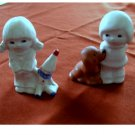Vintage Goebel Boy w Dog and Girl w Clown Doll Figurines