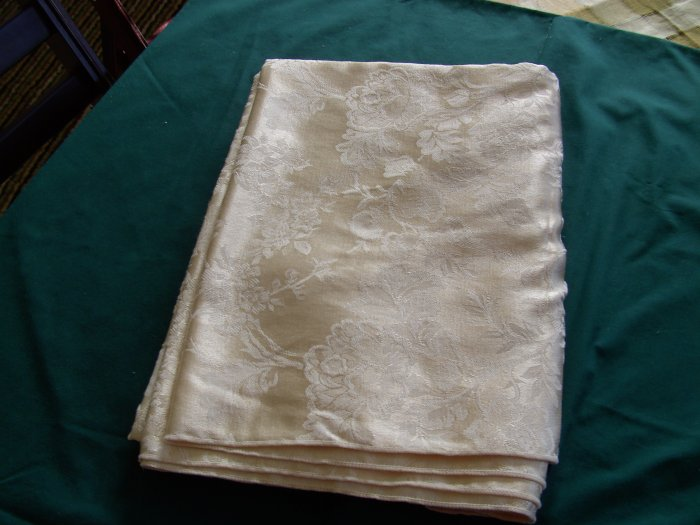 Cream Colored Damask Tablecloth:  Never Used