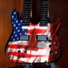 US AND CANADIAN FLAGS Miniature Guitar DOUBLE NECK UNITY Collectible Gift