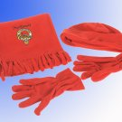 Embroidered Scarf (only ),with Toque & Glove set Scottish Clan crest or National image