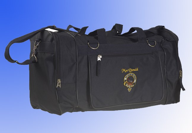 Full colour embroidered Sport bag Scottish clan crest or National image