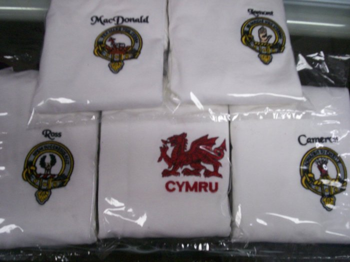 Scottish Clan badge full Colour Embroidered on T-shirt