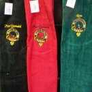 Scottish Clan Crest  full colour embroidery on Golf Towel